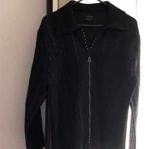 Rhinestone zipper black stretchy polyester jacket